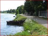 """<font color=""""blue""""><font size=""""+1""""> hemlot La Meuse,barques à quai, île de Franche Garenne</font></font>"""